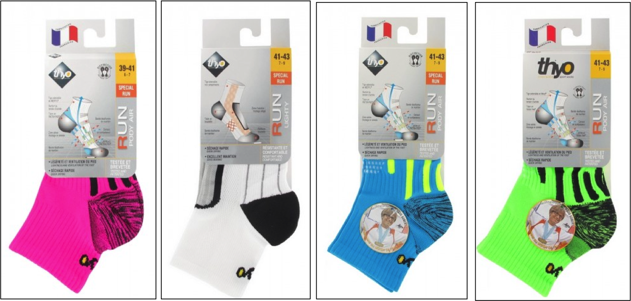 Légende : Socquettes Femme Pody Air Run  - Socquettes Hommes Run Lighty – Chaussettes mixte Pody Air Turquoise/Jaune – Chaussettes mixte Pody Air Vert